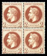 ** N°26, 2c Rouge-brun En Bloc De Quatre, Fraîcheur Postale, SUPERBE (certificat)  Qualité: ** - 1863-1870 Napoleon III With Laurels