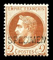 * N°26Be, 2c Rouge-brun Surchargé 'SPECIMEN' .TB  Qualité: *  Cote: 400 Euros - 1863-1870 Napoleon III With Laurels
