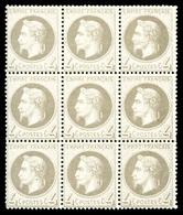 ** N°27B, 4c Gris Type II, Bloc De 9 Exemplaires (2ex*), Fraîcheur Postale. SUP (certificat)  Qualité: ** - 1863-1870 Napoleon III With Laurels