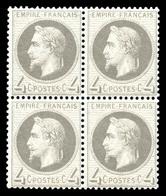 ** N°27B, 4c Gris En Bloc De Quatre, Fraîcheur Postale. SUP (certificat)  Qualité: ** - 1863-1870 Napoleon III With Laurels