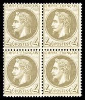 ** N°27Bd, 4c Gris-jaunâtre Type II En Bloc De Quatre, Fraîcheur Postale, TTB (certificat)  Qualité: ** - 1863-1870 Napoleon III With Laurels