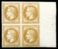 ** N°28Aa, 10c Bistre Impression De Rothschild En Bloc De Quatre Bdf, Fraîcheur Postale. SUP (certificat)  Qualité: ** - 1863-1870 Napoleon III With Laurels
