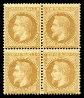 ** N°28B, 10c Bistre Type II En Bloc De Quatre, Fraîcheur Postale. TTB (certificat)  Qualité: ** - 1863-1870 Napoleon III With Laurels
