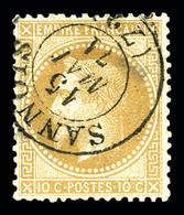 O N°28, 10c Lauré Obl De Fortune 'SANNOIS'1871 (léger Pelurage). R.  Qualité: O - 1863-1870 Napoleon III With Laurels