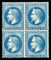 ** N°29B, 20c Bleu Type II En Bloc De Quatre, Fraîcheur Postale, SUP (certificat)  Qualité: ** - 1863-1870 Napoleon III With Laurels