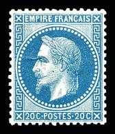 ** N°29B, 20c Bleu Type II, Très Bon Centrage, Fraîcheur Postale. SUP (certificat)  Qualité: ** - 1863-1870 Napoleon III With Laurels