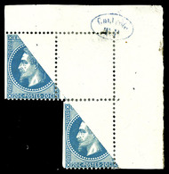 * N°29B, 20c Bleu, Impression Partielle Par Pliage: Un Exemplaire Sans Impression Et 2 Exemplaires Impression Partielle  - 1863-1870 Napoleon III With Laurels
