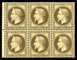 ** N°30, 30c Brun, Bloc De Six Exemplaires Bord De Feuille, Très Bon Centrage, Fraîcheur Postale. SUPERBE. R.R. (signé B - 1863-1870 Napoleon III With Laurels
