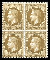 ** N°30a, 30c Brun Clair, Bloc De Quatre (2ex*), Fraîcheur Postale. SUP. R. (signé/certificat)  Qualité: ** - 1863-1870 Napoleon III With Laurels