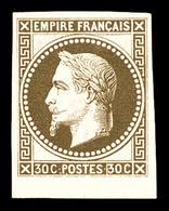 * N°30c, 30c Brun Impression De Rothschild Non Dentelé Bdf. TTB (signé Brun)  Qualité: *  Cote: 360 Euros - 1863-1870 Napoleon III With Laurels