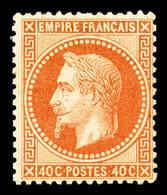 * N°31, 40c Orange, Frais, TTB (signé Brun/certificat)  Qualité: *  Cote: 1900 Euros - 1863-1870 Napoleon III With Laurels