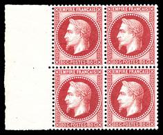 ** N°32a, 80c Rose Carminé En Bloc De Quatre Bord De Feuille Latéral, Fraîcheur Postale. PIECE SUPERBE. R.R.R (signé Bru - 1863-1870 Napoleon III With Laurels