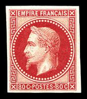 ** N°32b, Rothschild, 80c Rose Non Dentelé, Infime Froissure De Gomme, Très Frais. TTB (certificat)  Qualité: ** - 1863-1870 Napoleon III With Laurels