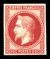 * N°32b, Rothschild, 80c Rose Non Dentelé. TTB (certificat)  Qualité: *  Cote: 800 Euros - 1863-1870 Napoleon III With Laurels