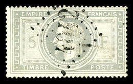 O N°33f, 5f Violet-gris, BURELAGE DOUBLE. SUPERBE. R.R. (signé Calves/certificats)  Qualité: O  Cote: 2750 Euros - 1863-1870 Napoleon III With Laurels