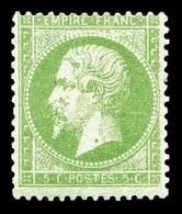 * N°35, 5c Vert-pâle Sur Bleu, Gomme Non Originale. TB (certificat)  Qualité: *  Cote: 4600 Euros - 1863-1870 Napoleon III With Laurels