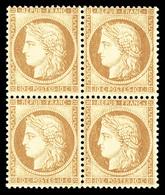 ** N°36, 10c Bistre-jaune En Bloc De Quatre, FRAÎCHEUR POSTALE, SUPERBE (certificat)   Qualité: ** - 1863-1870 Napoleon III With Laurels