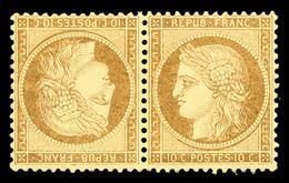 * N°36b, 10c Bistre-jaune En Paire Tête-bêche Horizontale, Très Bon Centrage, TB (signé Calves/Robineau/certificat)  Qua - 1870 Siege Of Paris