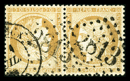 O N°36b, 10c Bistre-jaune En Paire Tête-bêche Horizontale Obl GC + Càd, TTB (signé Brun/certificat)  Qualité: O  Cote: 3 - 1870 Siege Of Paris