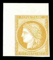 (*) N°36c, Granet, 10c Bistre-jaune Non Dentelé Coin De Feuille. SUP (certificat)  Qualité: (*)  Cote: 450 Euros - 1870 Siege Of Paris