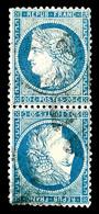 O N°37c, 20c Bleu En Paire Tête-bêche, TTB (signé Margues/Calves/certificat)  Qualité: O  Cote: 2400 Euros - 1870 Siege Of Paris