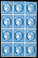 (*) N°4, Cérès 25c Bleu, Bloc De 12 Exemplaires (1ex Touché En Haut). SUP (certificat)  Qualité: (*) - France