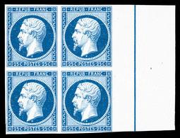 (*) N°10, Essai: 25c Bleu Papier Pelure En Bloc De Quatre Bord De Feuille Avec Filet D'encadrement, SUPERBE (certificat) - France