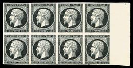 ** N°13A, Essai: 10c Noir Type I En Bloc De Huit Bord De Feuille Latéral Droit, Fraîcheur Postale, TTB (signé Calves/cer - France