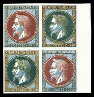 (*) Empire Lauré: 20 Et 30 Centimes, Coussinet D'impression En Bloc De Quatre, Bord De Feuille Latéral, Superbe (certifi - France