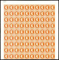 (*) N°30, 30c Orange Vif: Essai En Panneau De 90 Exemplaires Bdf Avec Cachet De Contrôle, Fraîcheur Postale. R.R. SUPERB - France