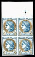 (*) N°53, 5c, Coussinet D'impression En Bloc De Quatre Grand Bord De Feuille Supérieur Avec Croix De Repère, Superbe (ce - France