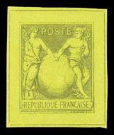 (*) Sage Type I Avec Globe, épreuve En Gris Sur Vert. TTB. R.R. (certificat)  Qualité: (*) - France