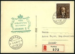 LIECHTENSTEIN 191 BRIEF, 1940, 3 Fr. 100 Geburtstag Auf Ersttagskarte, Pracht - Liechtenstein