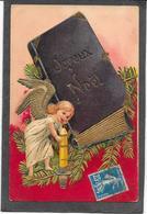 Gaufrée, Relief, Dorures - ANGELOT, Bougie, Album Photo, Joyeux Noël - Anges
