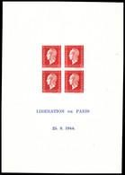 (*) N°4a, Bloc Feuillet De La Liberation De Paris: Dulac, Inscription Sur 2 Lignes Seulement Et Sans Encadrement Bleu, D - Mint/Hinged