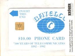 Bahamas - BHS-C-01c, Batelco Logo. 100 Years Of Telecommunications, 15001 - 25000, 10.000 Ex, 4/1993, Mint? - Bahamas