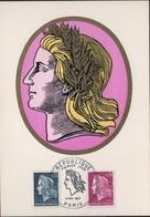 FDC111 - FRANCE N° 1535/1536 Marianne De Cheffer Sur FDC 1967 - Cartes-Maximum