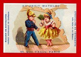 Paris, Au Petit Matelot, Jolie Chromo Lith. Alfred Clarey, Couple, Pompier - Autres