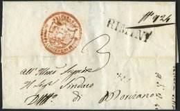VORPHILA 1829, RIMINI, L1, Rückseitiger L2 28 GIVGNO, Dazu Dekorativer Roter Absenderstempel, Pracht - Italy