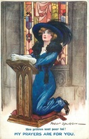 """WW1 - ARTIST FRED SPURGIN SIGNED """"MY PRAYERS ARE FOR YOU"""" ~ """"MES PRIÈRE SONT POUR TOI""""~ OLD POSTCARD #89135 - Patriotic"""