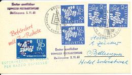 Switzerland Card RAKETPOST With 4 EUROPA CEPT Stamps And Europa Overprinted Seal Z.R. Bellinzona - Suisse