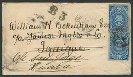 CHILE. 1892 (1 April). Tacna - Iquique - Huara - Iquique. Env Fkd Provisional Impuesto 5c Intense Blue / Cds Fwded. Dobl - Chile