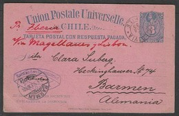 """CHILE - Stationery. 1893 (9 March). Valdivia - Germany. 3c Stat Card Grey Blue On Pink. Endorsed """"Per Iberia"""" Via Magall - Chili"""