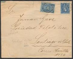 CHILE. 1892 (2 Marzo). Osorno - Santiago. Provisional Postage Stamps Shortage Period. Mixed Usage 5c Impuesto + 5c. ABN - Chile
