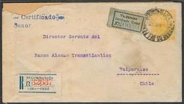 PERU - Stationery. 1906. Lima - Chile. 10c Yellow Stat Env / 0 Reg Labels + Arrival Cds. - Peru