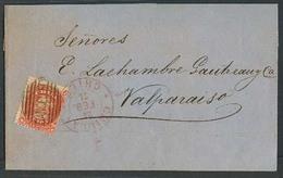 CHILE. 1874 (23 Feb). Chillan - Valp. E Fkd 5c Orange Tied Grill + Red Lilac Cds. VF. - Chile