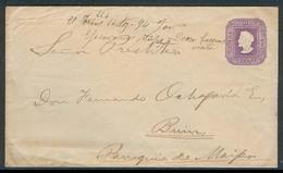 "CHILE - Stationery. 1894. Santiago - Talca - Buin / Parroquia De Maipo. 5c Lilac Stat Env. ABN NY 1889 / Mns ""E1 Trans"" - Chile"