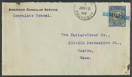 DOMINICAN REP. 1908 (10 Jan). US Consulate. Fkd Env / 5c / Stline. Ship Seminole / Pqbt. VF. - Dominicaine (République)
