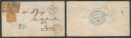 SWITZERLAND. 1874. Chur - France. Fkd Env 20c + 5c + X2 + 30c Oval Blue On Reverse. - Switzerland