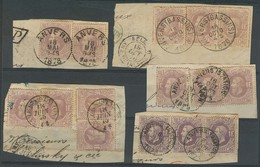 BELGIUM. 1869. 1fr Violet / Dark Violet 15 Diff In Original 5 Diff Fragments Overseas Usages / Multiples Anvers. Scarce - Belgium